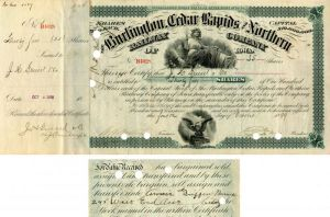 Annie Griffin Baruch - Burlington Cedar Rapids and Northern Railway - Stock Certificate