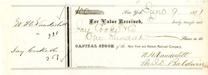 New York and Harlem Railroad Company transferred to Jay Cooke & Co. - Stock Certificate