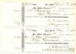 New York and Harlem Railroad Company signed by Wm. H. Vanderbilt - Stock Certificate - SOLD