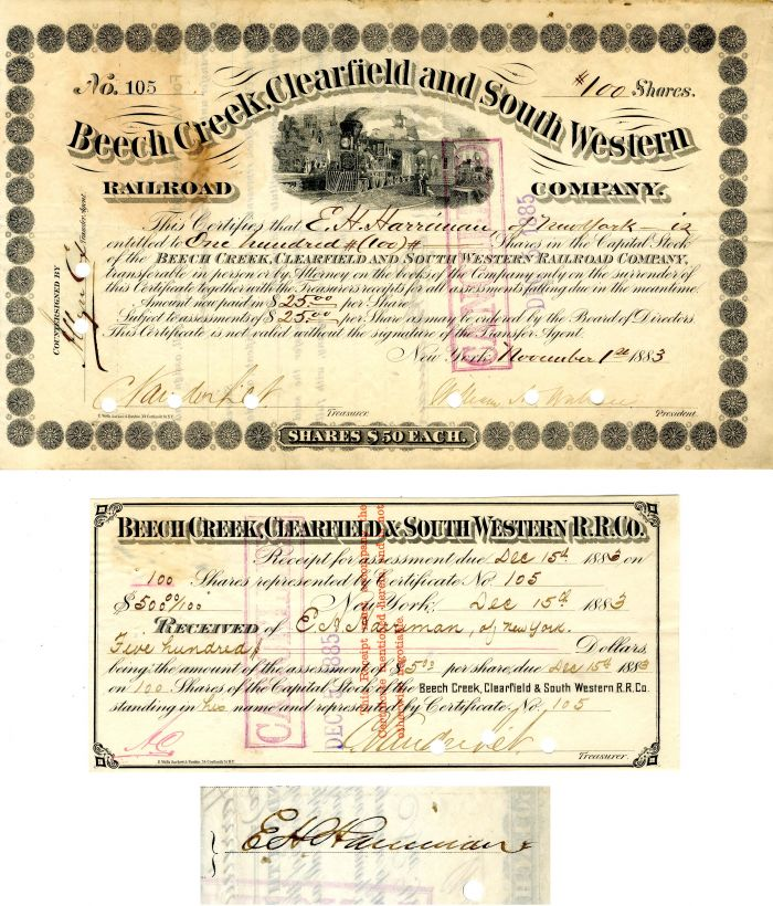 Beech Creek, Clearfield and South Western Railroad Pair Issued to and Signed by E.H. Harriman and C. Vanderbilt- Stock Certificate