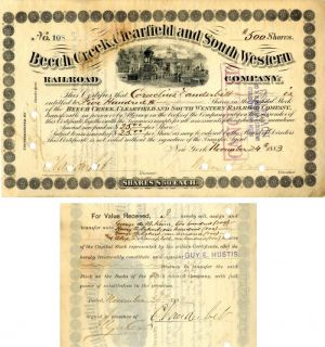 Beech Creek, Clearfield and South Western Railroad Company Issued to and Signed by C. Vanderbilt- Stock Certificate