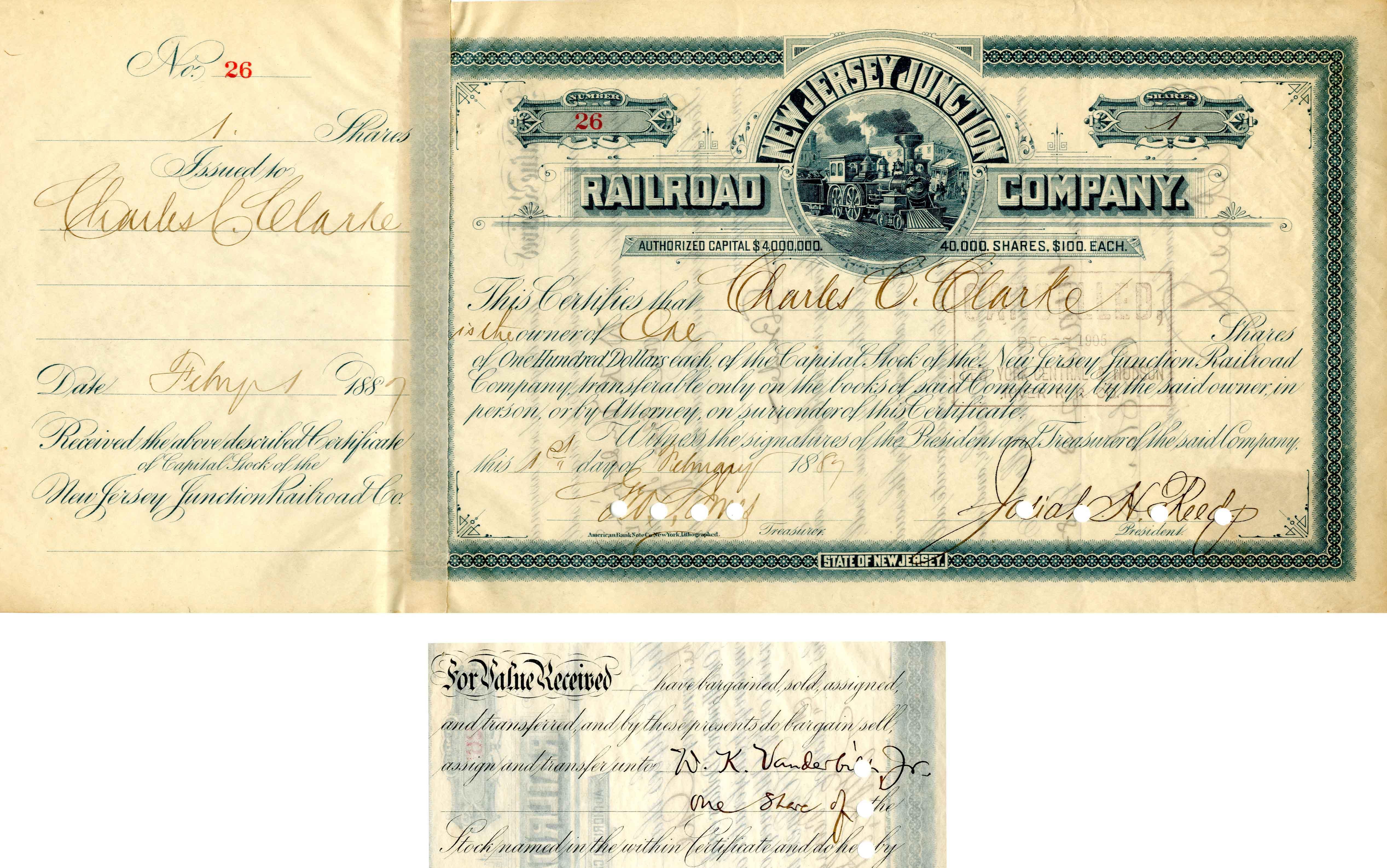 New Jersey Junction Railroad Company transferred to Wm. K. Vanderbilt Jr.