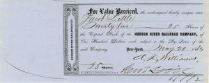 Hudson River Railroad Company Issued to and Signed by Jacob Little - Stock Certificate