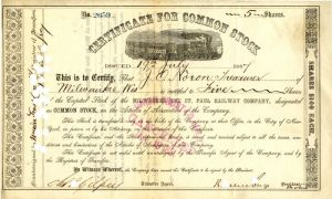 Milwaukee and St. Paul Railway Company signed by Russell Sage - Stock Certificate