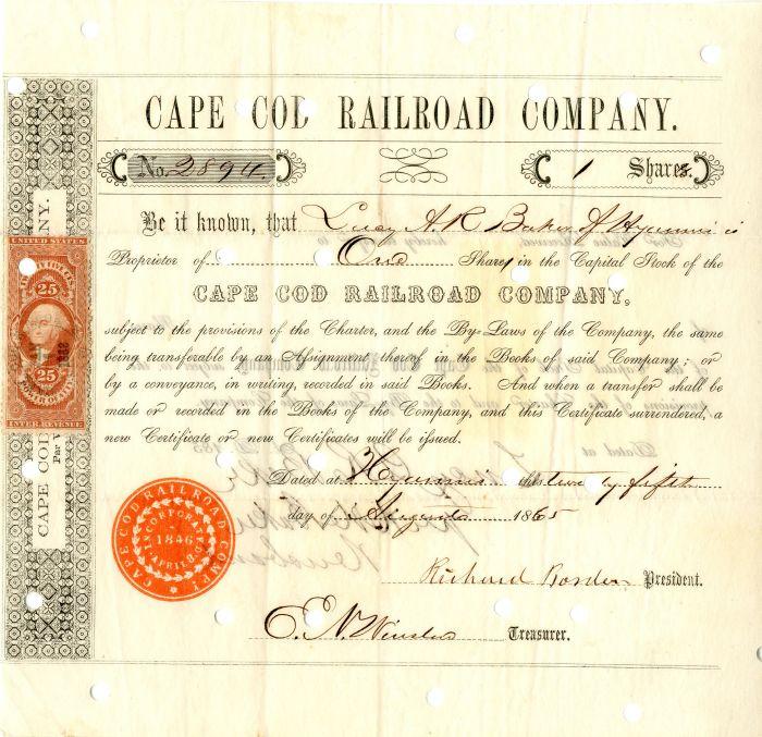Cape Cod Railroad Company signed by Richard Borden - Stock Certificate
