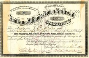Indiana, Illinois and Iowa Railroad Company signed by F. M. Drake - Stock Certificate