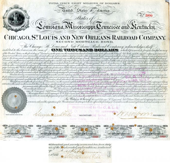 Chicago, St. Louis and New Orleans Railroad Company signed by Stuyvesant Fish - $1,000 - Bond