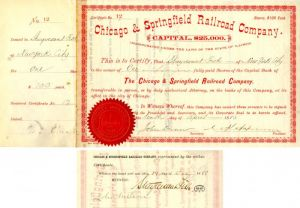 Chicago & Springfield Railroad Company signed by Stuyvesant Fish - Stock Certificate