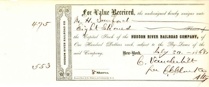 Hudson River Railroad Company signed by C.C. Clark for Commodore Cornelius Vanderbilt - Stock Certificate