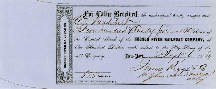 Hudson River Railroad Company issued to Commodore Cornelius Vanderbilt - Stock Certificate - SOLD