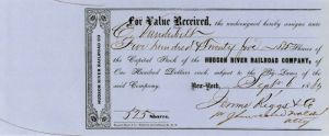 Hudson River Railroad Company issued to Commodore Cornelius Vanderbilt - Stock Certificate - SOLD