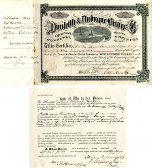 Dunleith & Dubuque Bridge Co. signed twice by Stuyvesant Fish - Stock Certificate