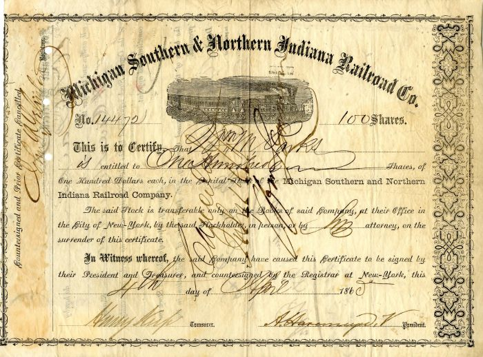 Henry Keep - Michigan Southern & Northern Indiana Railroad Co. - Stock Certificate