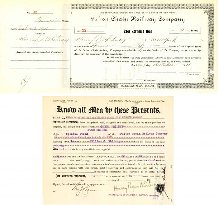 Fulton Chain Railway Company Transfer signed by Harry Payne Whitney - Stock Certificate