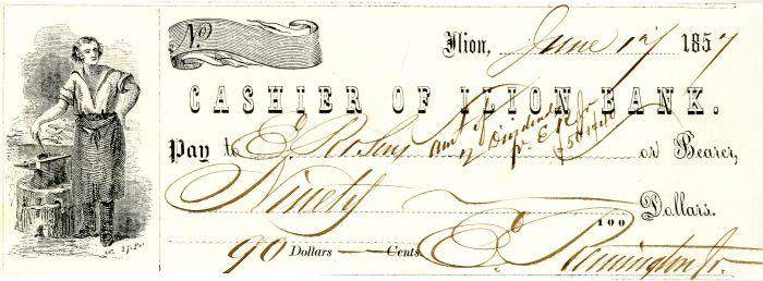 Eliphalet Remington Jr. Signed Check