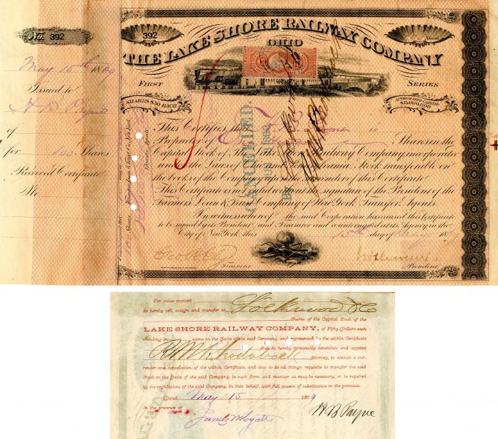 Lake Shore Railway Company signed by H.B. Payne and J.H. Devereux - Stock Certificate