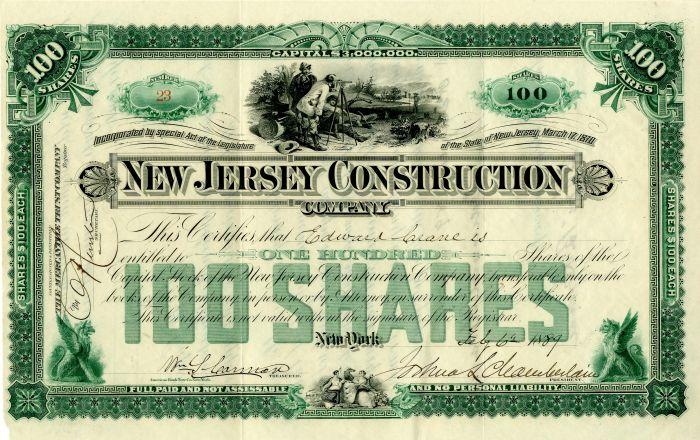 New Jersey Construction - Joshua L. Chamberlain signed - Stock Certificate