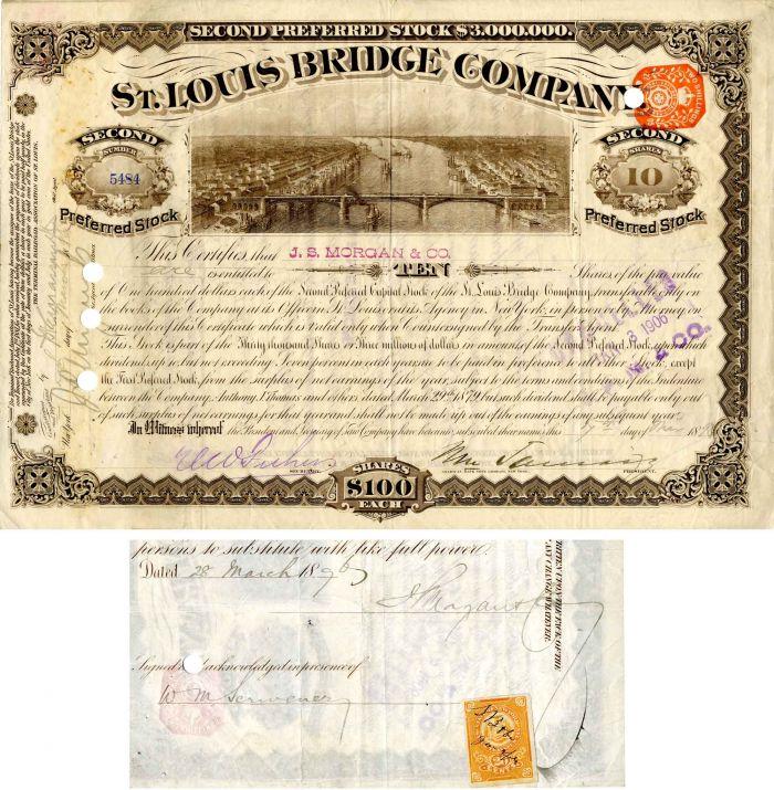 J. Pierpont Morgan, Jr. Signs St. Louis Bridge Company - Stock Certificate