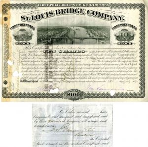 J. Pierpont Morgan signs for company on St. Louis Bridge Company - Stock Certificate