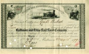 Baltimore and Ohio Rail-Road Company signed by John W. Garrett