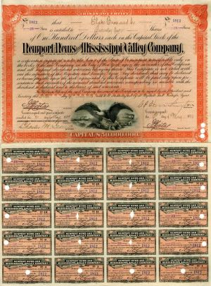 Newport News and Mississippi Valley Company signed by C. P. Huntington - Stock Certificate - SOLD