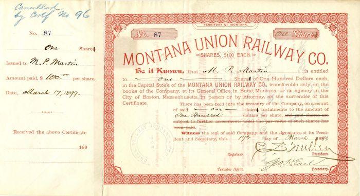 Montana Union Railway Co. signed by C.S. Mellen & Geo. H. Earl