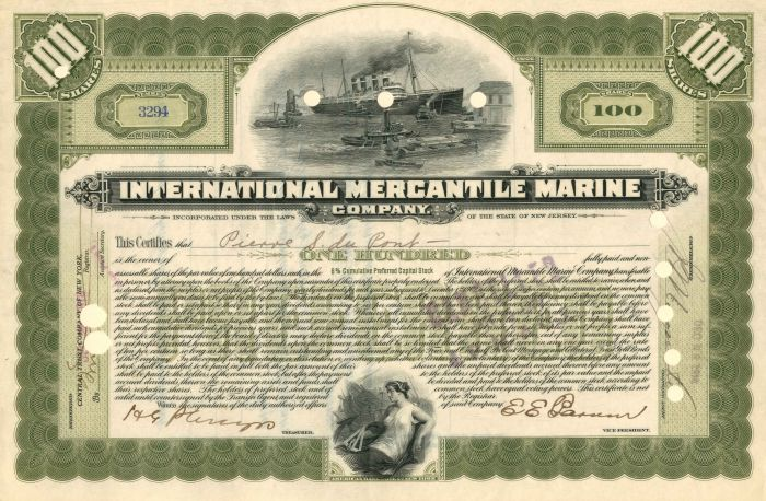 International Mercantile Marine issued to not signed by Pierre S. DuPont - Company that Made the Titanic - Stock Certificate - SOLD
