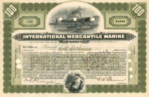International Mercantile Marine Company issued to not signed by Pierre S. DuPont - Stock Certificate