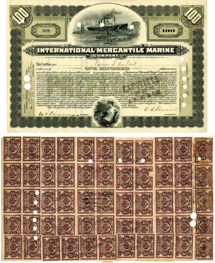 International Mercantile Marine issued to not signed by Pierre S. DuPont - Company that Made the Titanic - Stock Certificate