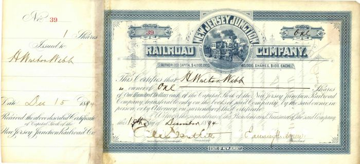 New Jersey Junction Railroad Company signed by Chaucey Depew and E.V.W. Rossiter and H. Walter Webb - Stock Certificate