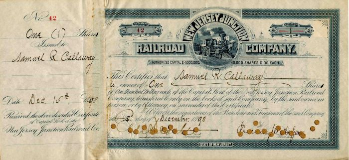 New Jersey Junction Railroad Company signed by Chaucey Depew and E.V.W. Rossiter - Stock Certificate