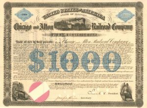 Chicago and Alton Railroad Company signed by Samuel J. Tilden - $1,000 - Bond