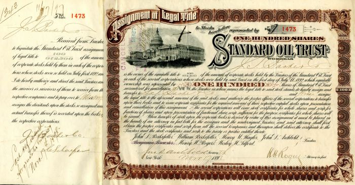 Standard Oil Trust issued to J.S. Bache & Co. and signed by John D. Archbold and H.H. Rogers - Stock Certificate
