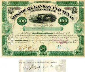 Jay Gould and Russell Sage signed Missouri, Kansas and Texas Railway Company - Stock Certificate