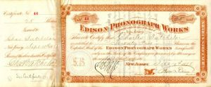 Edison Phonograph Works signed by Thos. A. Edison - Stock Certificate - SOLD