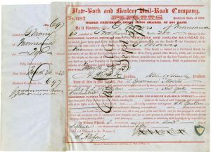 New-York and Harlem Rail-Road issued to and signed twice by Gouverneur Morris, Jr.