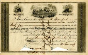 Baltimore and Ohio Rail Road Company Issued to Jerome N. Bonaparte - Stock Certificate - SOLD