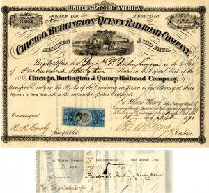 Chicago, Burlington and Quincy Railroad Company signed by Frederick T. Frehinghuysen - Stock Certificate - SOLD