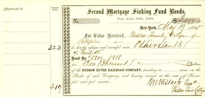 Hudson River Railroad Company signed by Matthew Vassar Jr. - Stock Certificate - SOLD