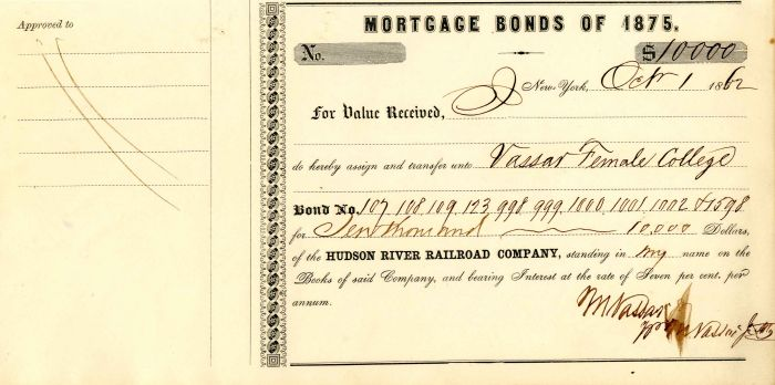 Hudson River Railroad Company signed by Matthew Vassar Jr. - Stock Certificate