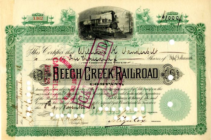 Beech Creek Railroad Company Issued to Wm. K. Vanderbilt - Stock Certificate