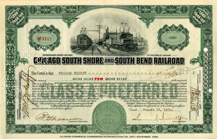 Chicago South Shore and South Bend Railroad signed by Samuel Insull, Jr.