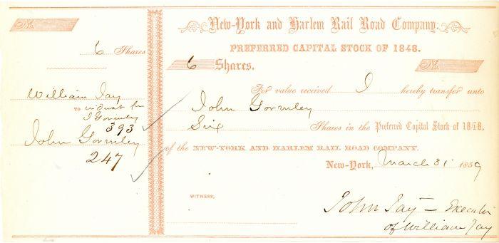 New York and Harlem Rail Road Company signed by John Jay Jr.