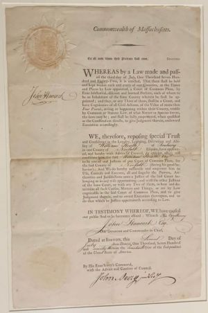 John Hancock Signed Appointment for William Heath of Roxbury, Norfolk County of Massachusetts