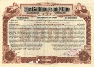 Louis D. Brandeis Issued To and Signed Baltimore and Ohio Railroad Company $5000 Bond - SOLD