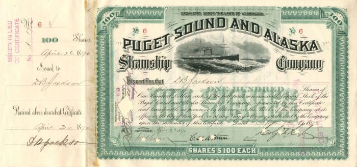 Puget Sound and Alaska Steamship Company signed by D.B. Jackson and Colgate Hoyt - Stock Certificate