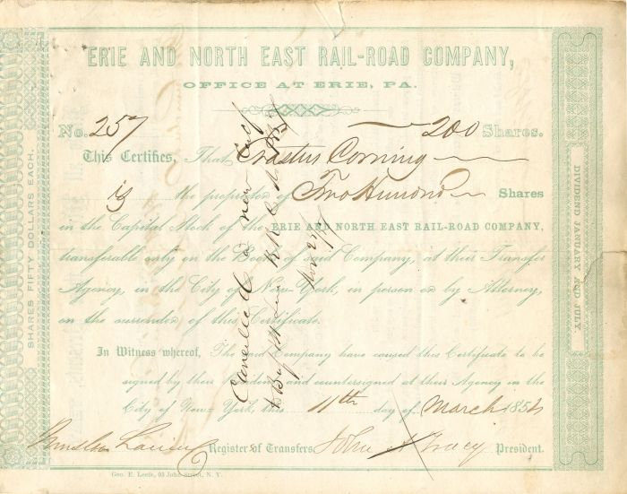 Erastus Corning - Erie and North East Rail-Road Company - Stock Certificate