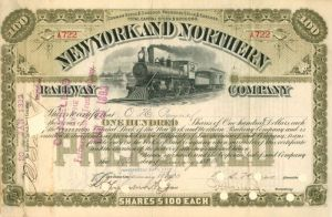 O.H. Payne - New York and Northern Railway Company - Stock Certificate
