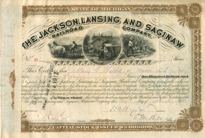 C. Vanderbilt - Jackson, Lansing and Saginaw Railroad Company - Stock Certificate