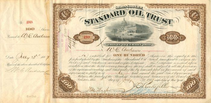 W.C. Andrews - Standard Oil Trust - Stock Certificate